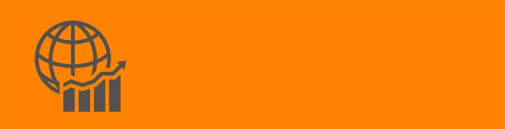UT-PERC banner image. Orange with a globe and graph icon